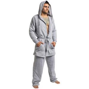 DudeRobe Mens Hooded Robe and Sweatpants Set
